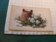 1800's Raphael Tuck FORGET ME NOTS AND COPPER BASKETS by C. Klein Chromolitho