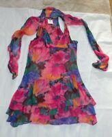 Dolce & Gabbana D&G Seta Silk Pink Floral Multicolour Neck Tie Dress IT 44 UK 12