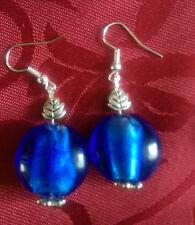 Lampwork drop dangle, silver plated earrings, blue 20mm bead tibetan leaf(343)