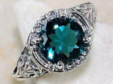 Gorgeous Genuine Round Cut Green Cubic Zirconia White Gold Filled Ring- Size 6