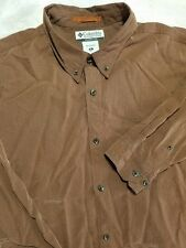 Columbia Long Sleeve Button Up Brown Fishing Camp Modal Poly Shirt Size Mens XL