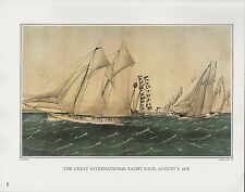 "1972 Vintage Currier & Ives ""INTERNATIONAL YACHT RACE of 1870"" COLOR Lithograph"
