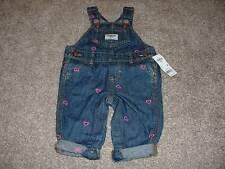 Oshkosh B'Gosh Baby Girls Denim Jean Heart Overalls Size 6M 6 Months NWT NEW 3-6