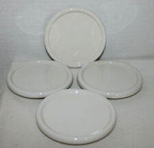 """Lot Of 4 Coaster/Lids Sold At Longaberger Homestead Item, White Pottery, 4.5 """""""