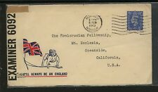 Great Britain censor patraotic cover to Us 1943 Kl0720