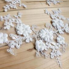Pearl Bridal Lace Trim Corded Embroidery Lace Applique Wedding Lace Motif 1 Pair