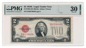 UNITED STATES banknote $2 1928 E Fr#1506 PMG VF 30
