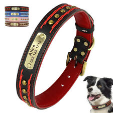 Studded Braided Leather Custom Dog Collars Personalised Pet Name ID Tag M L XL