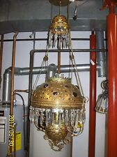 Antique Brass and Jeweled oil hanging lamp converted to electric