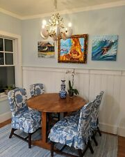 custom made dining room slipcovers, fabric by thibaut (4) sold together