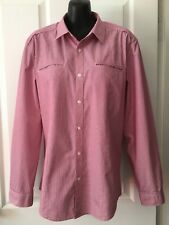 Gorgeous SABA Red & White Striped Slim Fit Business Work Dress Shirt SIZE S