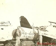 Org. Photo: US Soldiers by Japanese A6M Zero Fighter w/ Inscription on Fuselage!