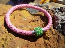 Pink Leather Bracelet with Green Rhinestone magnetic clasp