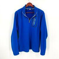 Under Armour Size L Large Blue Super Soft Fleece 1/4 Zip Pocket Sweater Men's