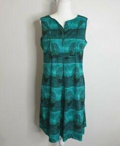 Piazza Sempione Green Shift Silk Blend Dress Size 14 - 16