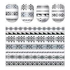 Ultra-dünne Adhesive 3D Nail Tattoo Sticker Schwarzes Wasserdichte Abziehbilder