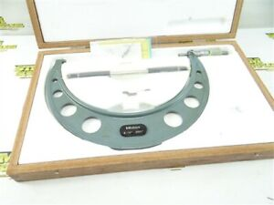 """NICE MITUTOYO MODEL 103-224A 9""""-10"""" OUTSIDE MICROMETER .0001"""" + STANDARDS & CASE"""