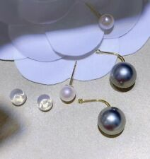 GENUINE 4-5mm 8-9mm real natural South Sea Pearl Sutd Earrings 18K GOLD