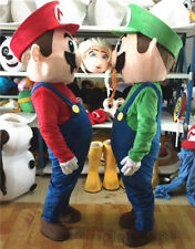Super Mario and Luigi 2 Mascot Costume suits Dress Adults Size Halloween popular