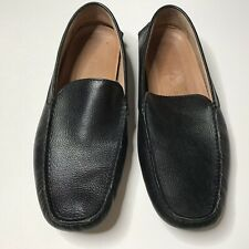 Trenery Mens Black Leather Loafer Slip On Driving Moccasins Size 43 UK/ 10 US
