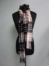 Charter Club Chenille Plaid Scarf Camel One Size NWT $48.00