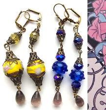 Lot of 2 Pair EARRINGS Crystal Lamp-work Vintage Style Artisan OOK Dangler #4