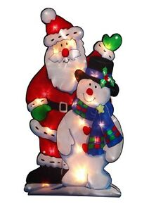 Large Window Santa and Snowman Warm White 20 LED Light up Sign Xmas Decoration