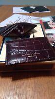 ASPINAL OF LONDON SLIM CREDIT CARD CASE/WALLET BROWN CROC & STONE SUEDE BNWOB