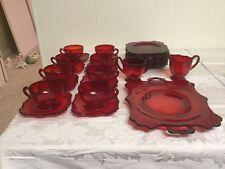 Vintage Depression Glass Lot Of 27 Ruby Red Full Set