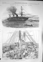 Original Old Antique Print 1856 Return Troops Siers Guards Ship Portsmouth 19th