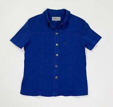 blumarine camicia donna usato top L blu stretch maglia camicetta aderente T723