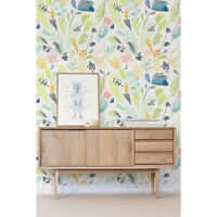Colorful Floral removable Wallpaper white mural Self Adhesive Peel & Stick