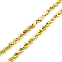 Real 14k Yellow Gold 5mm Diamond Cut Rope Chain Link Necklace Lobster Clasp 26""