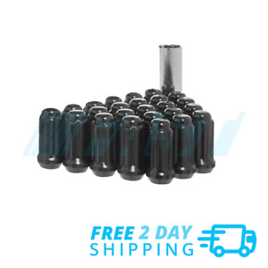 Lug Nuts Spline Black Install Kit 24 Piece with Tool 14x1.5 Chevy 6 Lug Trucks
