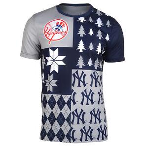 FOCO MLB Men's New York Yankees Busy Block Ugly Crew Neck Tee