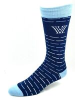 Villanova Wildcats For Bare Feet Navy Crew Socks with Light Blue and White Lines