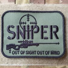 SNIPER OUT OF SIGHT OUT OF MIND TACTICAL MORALE  KLETT PATCH OLIV ARMY AIRSOFT