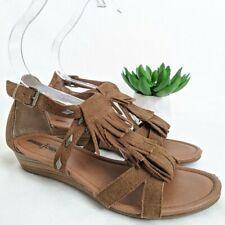 MINNETONKA Camel Brown Fringe Studded Sandal Stacked Wedge Womens Shoes Size 7