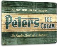 Peters Ice Cream Parlor Bar Shop Rustic Retro Kitchen Sign Decor