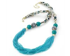 Turquoise Blue Seed Bead and Fabric Necklace (15 Row)
