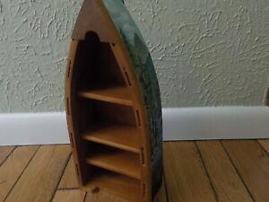 "Canoe display shelf miniature wall hanging shelf w/ pine tree & lake décor 13"" H"