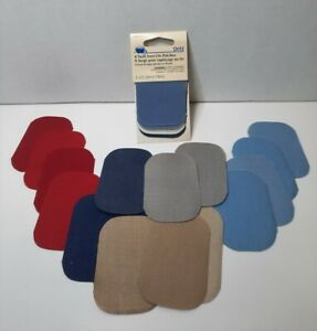 """Dritz 8 Twill Iron On Patches Washable 2"""" x 3"""" 55200-71 & 18 Assorted Patches"""