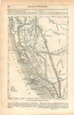 Carte de Californie chercheur d'Or Monterey Mission de Saint-Louis GRAVURE 1849