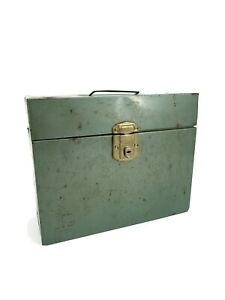Vtg Industrial Mid Century Porta File metal storage box Scrapbooking 12.5 X10