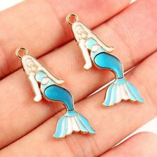 10X Cartoon Enamel Mermaid Charm Pendant For DIY Bracelet/Necklace Making