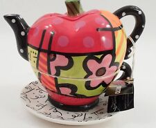 MWT 2008 Romero Britto Pop Art Cubist Tea for One Big Apple Tea Pot Cup Saucer