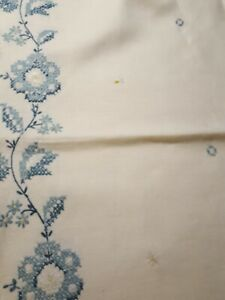 """ANTIQUE VINTAGE♡ FANCY LINEN EMBROIDERED ♡ HAND SEWN TABLECLOTH ♡  64"""" X 84"""""""