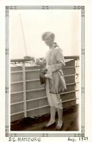 "1929 SS Hamburg German Ship Woman in Colonial Costume ""Masquerade"" Real Photo"
