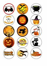 Halloween 15 x Edible Cupcake Toppers - PREMIUM ICING OR WAFER CARD
