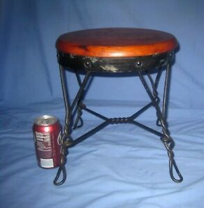 Vtg/Antique Country Farm Wood & Twisted Leg Metal Wrought Iron Stool/Doll Table!